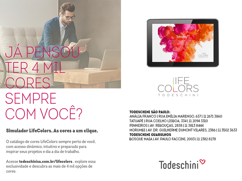 Simulador LifeColors da Todeschini permite explorar 4 mil opções de cores