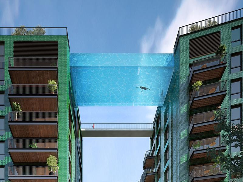 Piscina suspensa liga prédios em Londres